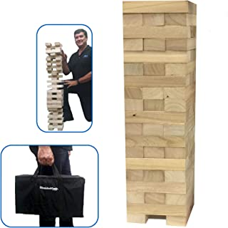 "EasyGoProducts Wood Stacking & Tumble Tower Blocks Game, Starts at 21"" Tall & Grows to 4' Tall When Playing!"