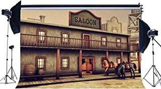 gladbuyビニール古いSaloon Backdrop 5x 91センチWild West古代Wooden House Backdrops American Culture Horse Westカウボーイバー写真背景for Personal Portraits Photo Studio Props bl14