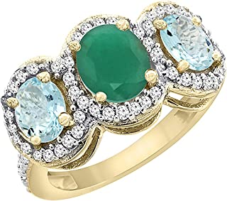 14K Yellow Gold Natural Cabochon Emerald & Aquamarine 3-Stone Ring Oval Diamond Accent, sizes 5 - 10