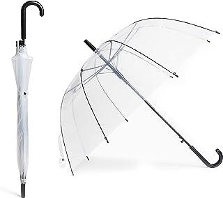 Paraguas Transparente - 8 Varillas Reforzadas Grandes - Resistente a la Intemperie, Robusto y Ligero - Cubierta Transparente Tipo Campana, Diseno Bonitos para Fotos de Boda y Fiestas