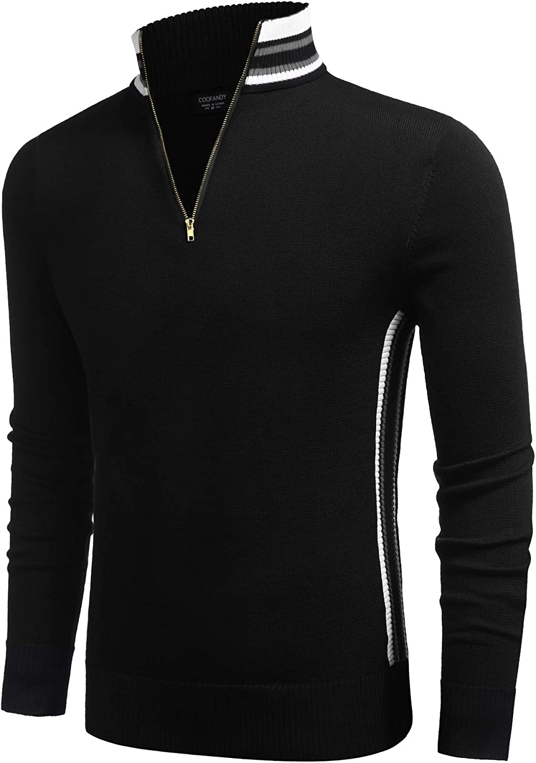COOFANDY Limited time trial price Men's Quarter Zip Pullover Stri Casual Sweater Max 49% OFF Slim Fit
