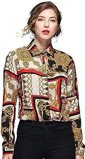 BEST-F-U Womens Floral Print Long Sleeve Casual Blouses Vintage Tops