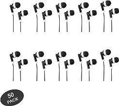 JustJamz Basic Dot Headphones Black in-Ear Earbud Headphones for Apple Android Laptop PC Mac Bulk Earbuds for Students Kids Classroom, 50 Pack