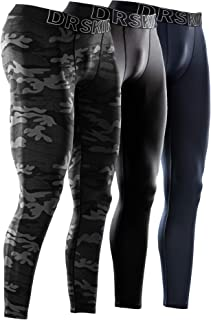 DRSKIN 1, 2 or 3 Pack Men's Compression Pants Dry Sports Baselayer Running Workout Tights Leggings Yoga Thermal