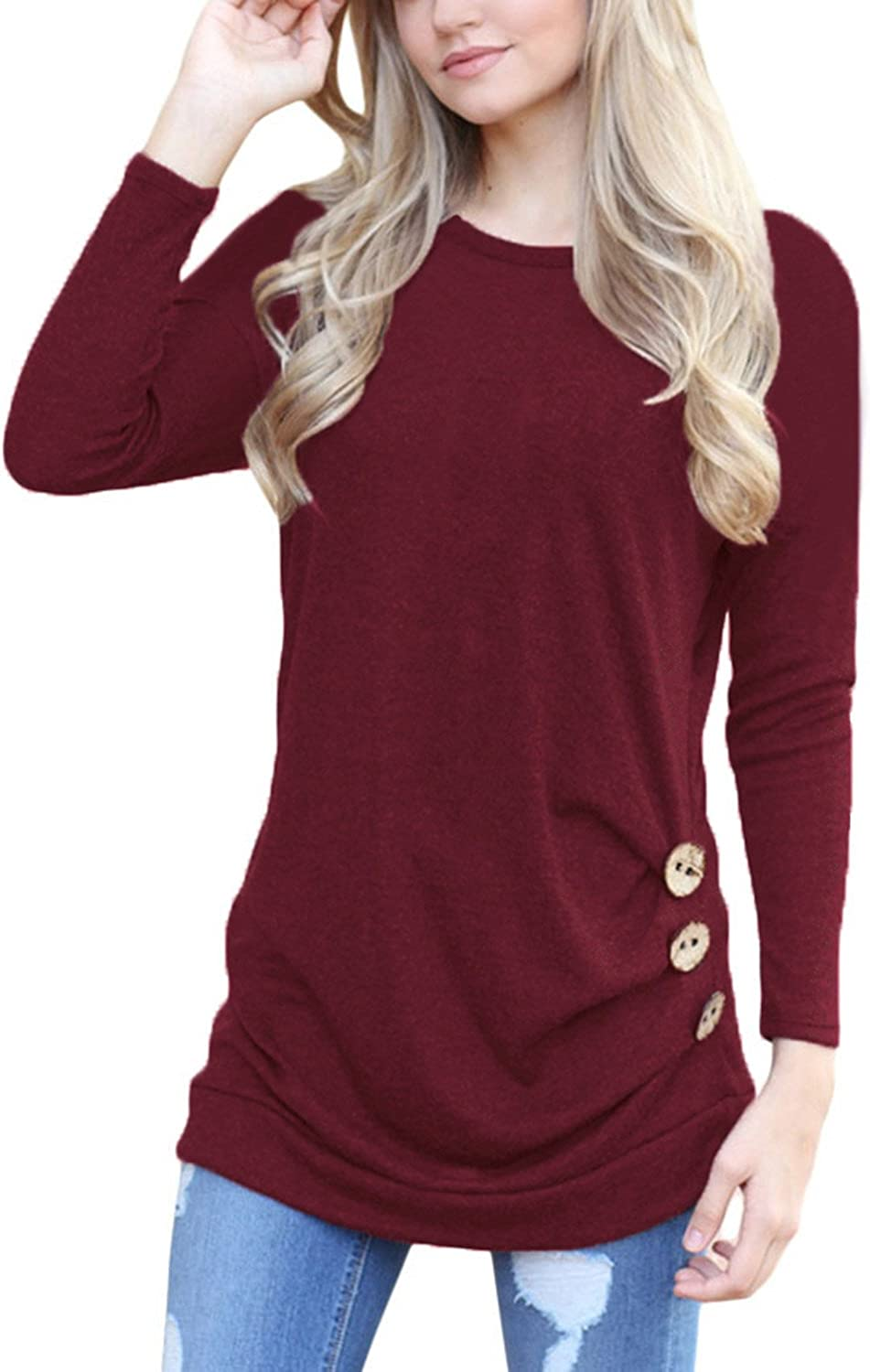 HOTAPEI Womens Long Sleeve Casual Round Neck Loose Tunic Top Blouse TShirt