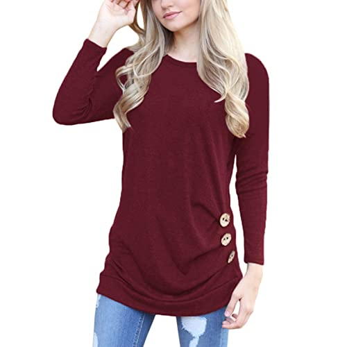 HOTAPEI Womens Long Sleeve Casual Round Neck Loose Tunic Top Blouse T-Shirt 3158e400a