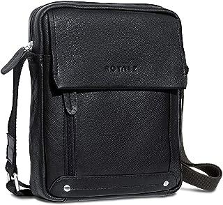 ROYALZ Leder Umhängetasche für Herren klein kompakte Design Ledertasche Messenger Bag Vintage-Look, Farbe:Schwarz
