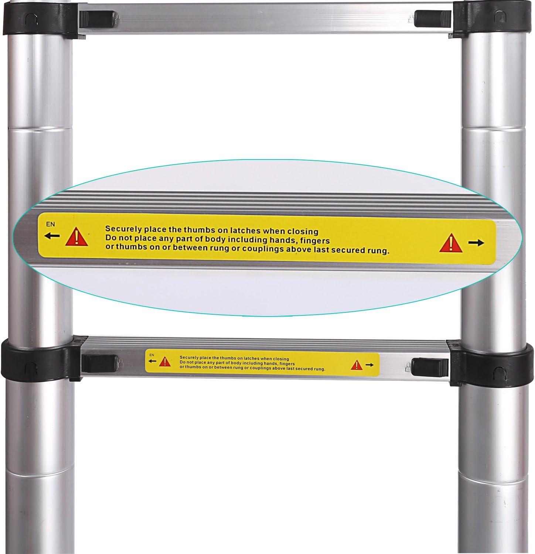 5 m Escalera telesc/ópica extensible escalera de aluminio extensible de aluminio telesc/ópica aluminio telesc/ópico Soporta hasta 150 kg