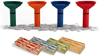 Nadex Easy Wrap Coin Tube Set with 100 Wrappers Included - Funnel Shaped Coin Counting Tubes for Pennies, Nickles, Dimes, and Quarters - Four Color-Coded Tubes
