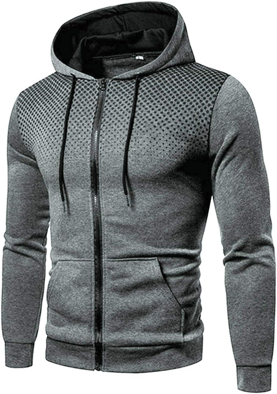 FORUU Mens Zip Up Hoodies 2021 Winter Leisure Sweatshirts Fashion Sports Polka Dot Pullover Plus Size Jacket Hoodie