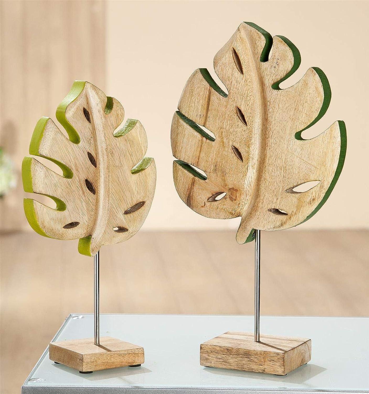 GILDE Holz Monstera Blatt auf Base VE 2 so Mangoholz, dunkelgrün hellgrün B x H x L 20 x 37 x 0 cm Set 2 Stück B07K2DYW4D