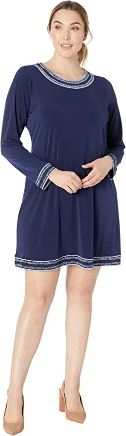Plus Size Prairie Long Sleeve Border Dress