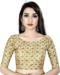 911aeb9667253c Ocean Fashion Women's Brocade Kalamkari Work Round Neck Readymade Saree  Blouses (Black; Medium)