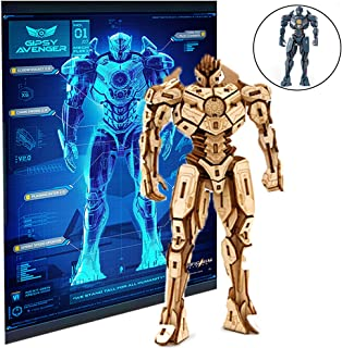 IncrediBuilds Pacific Rim Uprising Gipsy Avenger Poster and 3D Wood Model Figure Kit - Build, Paint and Collect Your Own Wooden Toy Model - Great for Kids and Adults, 12+ - 6 1/2