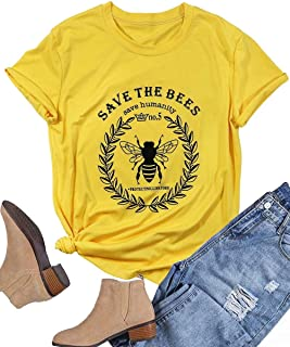 Save The Bees Shirt Beekeeper Tees for Women Letter Print Environment Shirts Summer Casual Beekeeping Tops