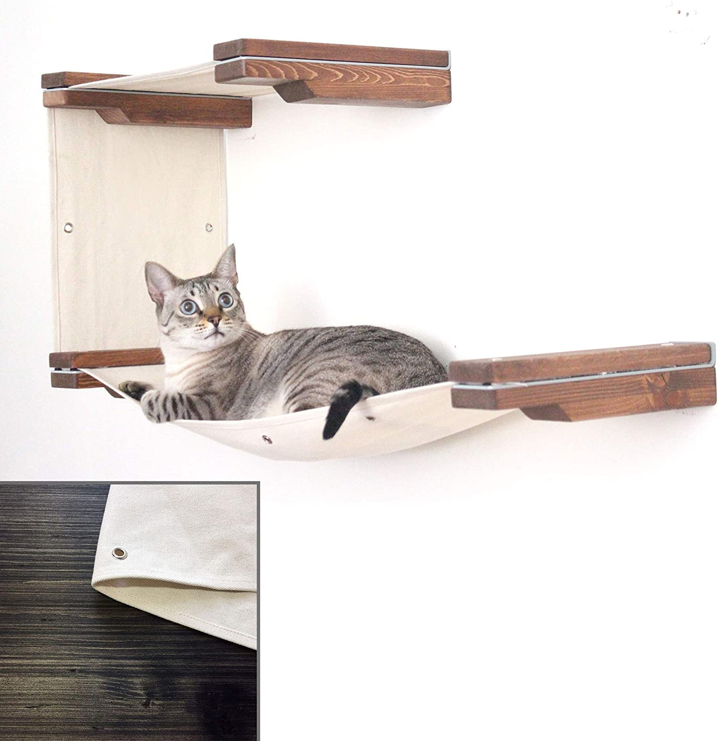 CatastrophiCreations Cat Mod Double Decker WallMounted Hammock Lounger Shelving for Cats  Onyx Natural