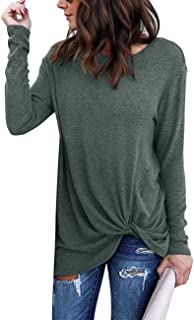 Yidarton Women's Comfy Casual Long Sleeve Side Twist Knotted Tops Blouse Tunic T Shirts