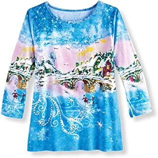 Sequined Blue Christmas Village Festive Top with 3/4 Sleeves