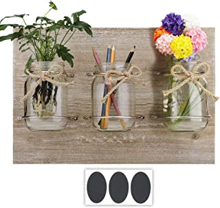 Round Rich Wooden Plaque with Mason Jars - Rustic Wall Décor