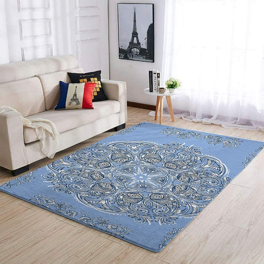 Cornflower Blue Area Rug Department store Anti-Slip Carpet Play Children for Courier shipping free