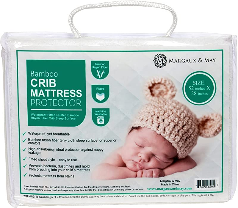 Margaux May Crib Mattress Protector Pad Waterproof Ultra Soft Dryer Friendly Deluxe Bamboo Rayon Fitted Quilted Mattress Protector Pad For Crib Absorbent Stain Protection Baby Cover