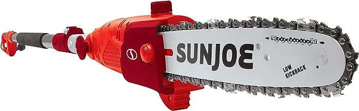 Sun Joe SWJ803E-RED 10-Inch 8.0 Amp Electric Multi-Angle Pole Chain Saw, Red