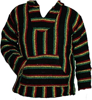 Oro Import Adult Hoodie Baja Hippie Surfer Mexican Poncho Sweater Drug Rug Jamaica