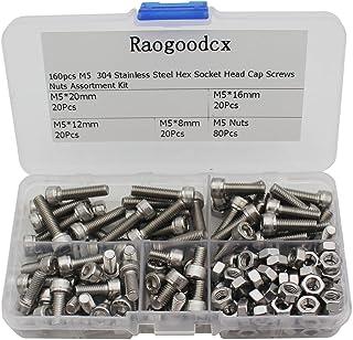 Raogoodcx M5 六角穴付きボルト セット ステンレス 修理ツール ナット 8mm 12mm 16mm 20mm 詰め合わせ 収納ケース付き 160本入り