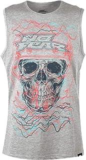 No Fear Graphic Vest Mens Grey Skull Skate Clothing Tank Top Shirt Singlet