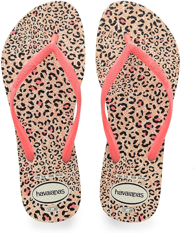 Havaianas Slim Animals White Coral Rubber Adult Flip Flops Sandals