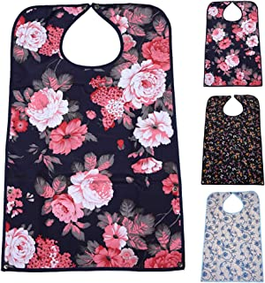 """Adult Bibs for Eating (3 Pack)- Washable Reusable Waterproof Clothing Protector with Crumb Catcher-Bibs for Seniors for Eating at Mealtime 30""""L x 19.5"""" Women(New Upgrade)"""