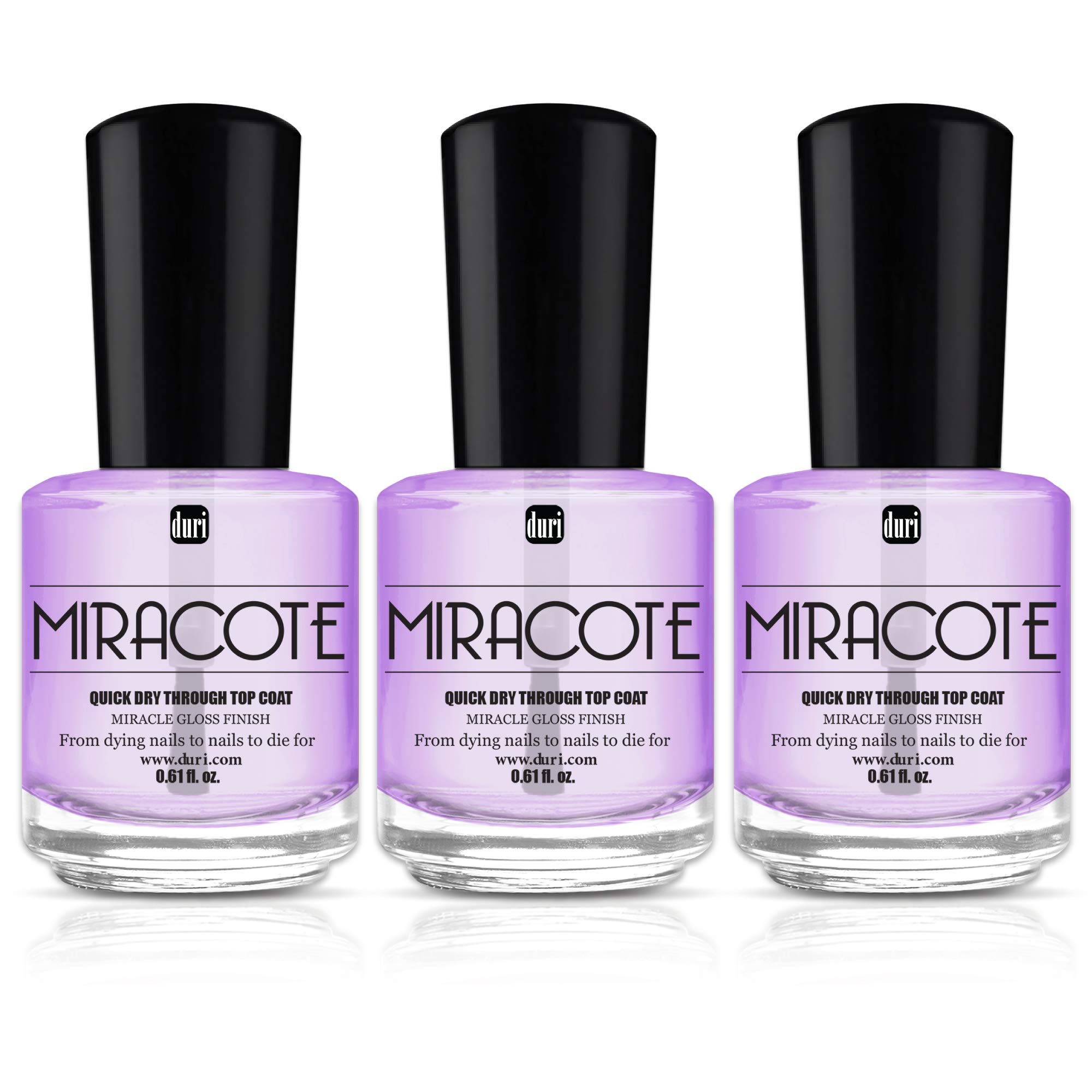 duri Miracote Quick Dry Through Top Coat for Miracle Gloss Finish Nails, None Yellowing, Low Viscosity, Protects Polish from Chipping, Pack of 3