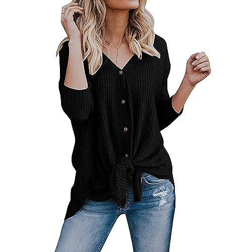 d7ded290ebf2cc Chvity Womens Waffle Knit Tunic Blouse Tie Knot Henley Tops Loose Fitting  Bat Wing Plain Shirts
