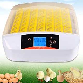 Incubadora Automática de Huevos con Pantalla LED Digital Inversión Automática y Control Eficiente e Inteligente de Temperatura y Humedad (56 huevos)
