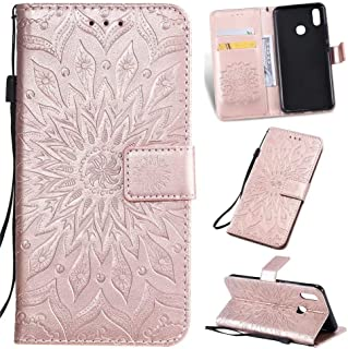 Vivo Y91 ケース,カバー Vivo Y91,Luckyandery 手帳型 ポーチ ケース,財布型 ケース カバー with Stand Function & Credit Card Slots for Vivo Y91,Rose Gold