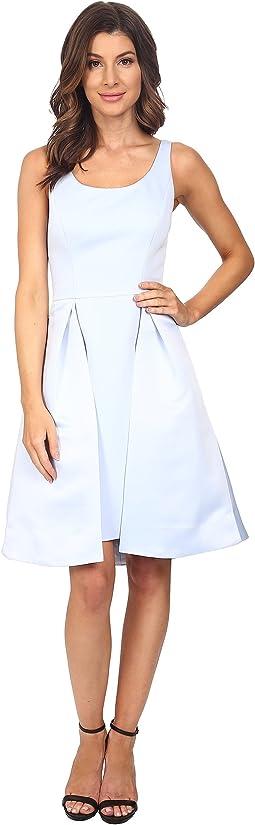 Sleeveless Round Neck Satin Faille Dress with Skirt Overlay