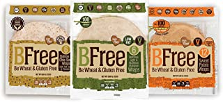 "Bfree Gluten Free Wrap Tortillas Variety Pack 8"" Sweet Potato, Multigrain, Quinoa, Wraps Variety"