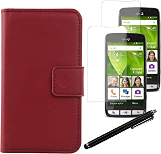 Gukas Design 4in1 Set Dark Red Genuine Leather Case Doro 824 5