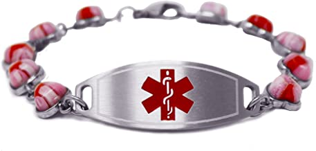 My Identity Doctor - Womens Medical ID Bracelet with Engraving - 1.2cm Steel & Glass Hearts - Made in USA