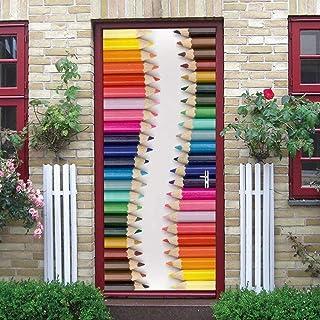 3D porte motif porte autocollants Stickers muraux crayons de couleur amovibles PVC étanche autocollants pour