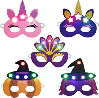 JUSTDOLIFE Party Masks for Kids, 5PCS Light up Felt Masks for Kids with Elastic Cords LED Halloween Cosplay Party Dress-up Masks for Kids Adults