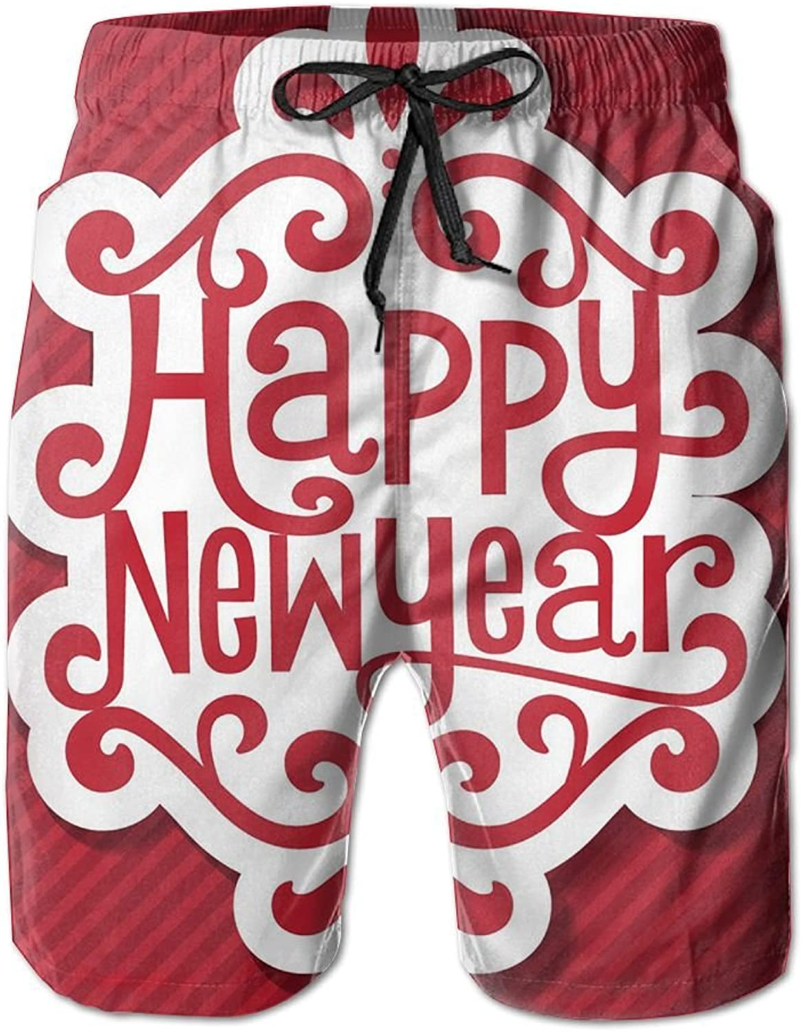 3c9518d233c0d Tydo Happy New Year Men's Beach Beach Beach Shorts Classic Surfing Trunks  Surf Board Pants With Pockets For Men 4e6c66