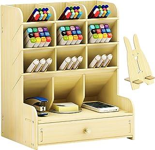 Marbrasse Wooden Desk Organizer, Multi-Functional DIY Pen Holder Box, Desktop Stationary, Home Office Supply Storage Rack ...