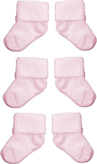 Newborn Plain Cream Baby Boys//Girls Cute Roll Over Socks 3 Pairs