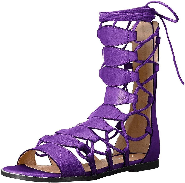 YDN Kvinnor Sexy Ankle High Gladiator Sandaler Lace Lace Lace up Open Toe Flats skor  fantastisk kvalitet