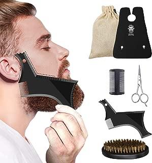 Beard Grooming Kit, Hizek Beard Kit for Men 6 in 1 Beard Growth Trimming Kit Beard Care Kit with Beard Shaping Tool, Trimming Bib, Beard Brush, Comb, Scissors, Convenient Canvas Bag