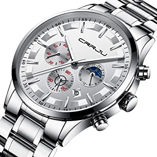 CRRJU Men's Multifunctional Chronograph Wristwatches,Stainsteel Steel Band Waterproof Watch