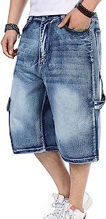Yeokou Men's Loose Hip Hop Cropped Jeans Work Denim Shorts with Cargo Pockets