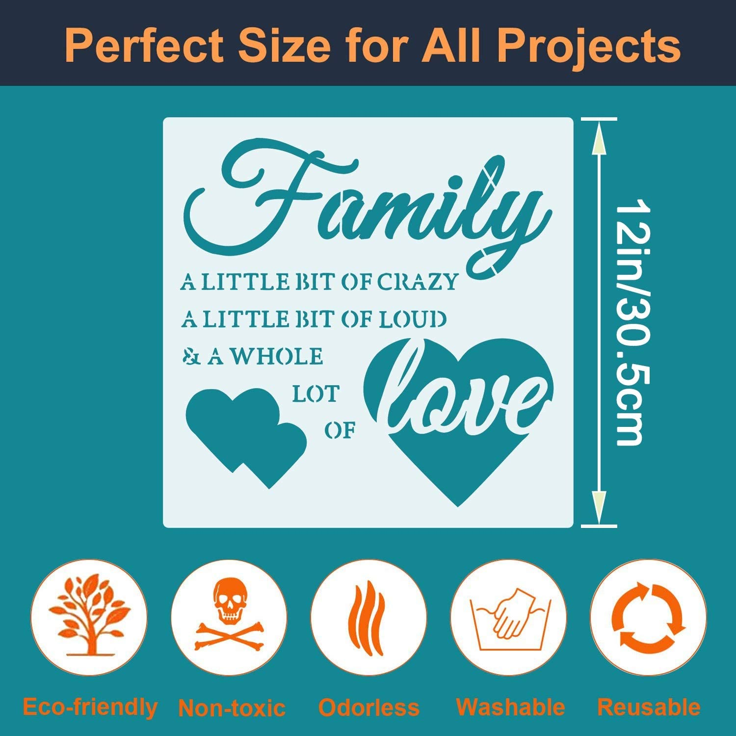 9 Pieces Word Stencils Family Sign Stencils Reusable Home Stencils Plastic Painting Templates for Word Art Works 7.9 Inches Home Decor /& DIY Projects