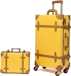 urecity Designer Vintage Trunk Combination Luggage Sets of 2 Piece, Hard Shell Retro Travel Suitcase with Wheels (Mustard ...